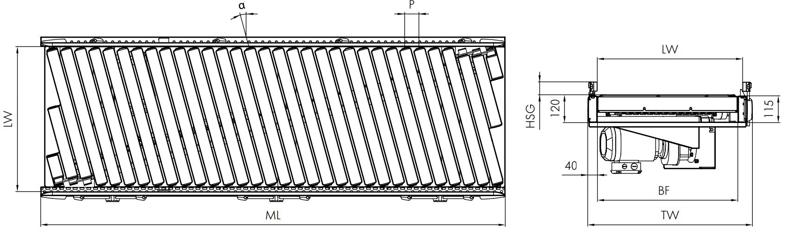 Bản vẽ kỹ thuật băng tải con lăn IT3610 intech